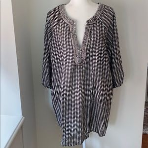 Shoshanna brown and white silk and cotton coverup